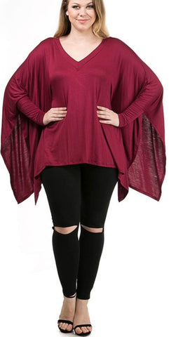 Sale-Plus Kimono V- Neck Top - Clearance