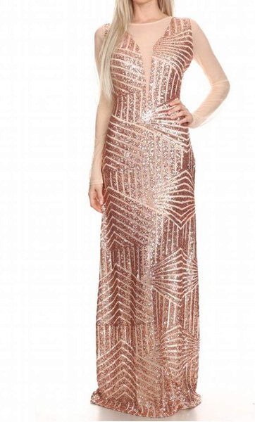 Sale-Rose Gold Sheer Dress