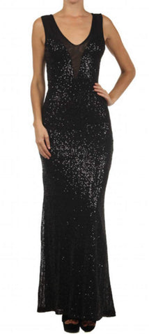 Sale- Black Sequin Evening Dress