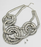 Statement Metal Chain Bib Necklace Set