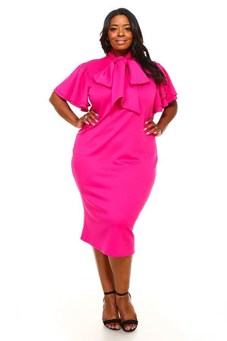 Fuchsia Plus Midi Dress with Bow Tie