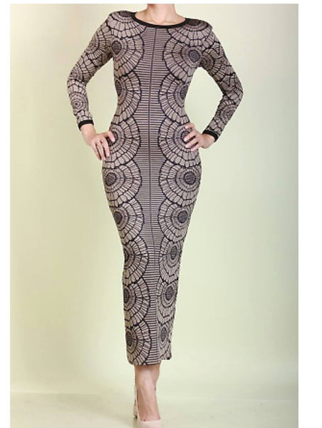 Sale-Printed Long Midi Dress- Clearance