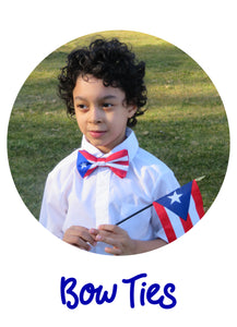 Boy wearing Puerto Rico flag bow tie