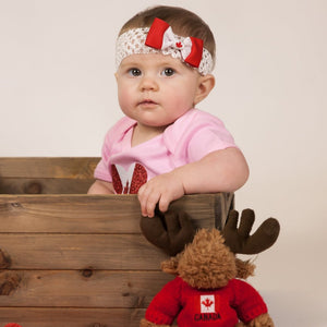 Canada flag crochet headband