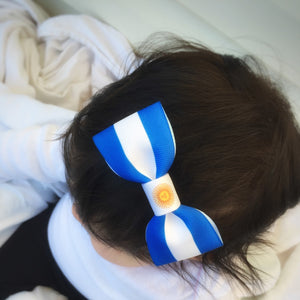 Argentina Flag Hair Bow on baby