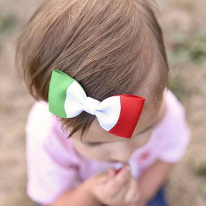 Italy Flag Hair Bow