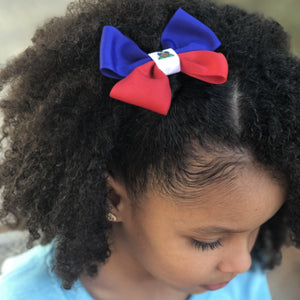 Haiti flag hair bow for girls