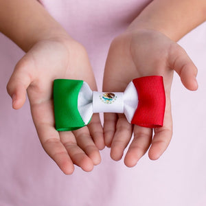 Mexico flag hair bow in hands