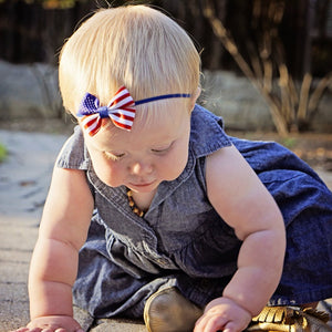 US Flag Hair Bow
