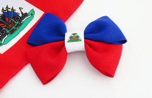 Haitian flag hair bow for women