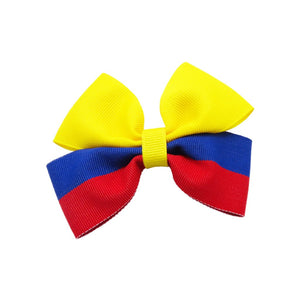 Colombia flag hair bow for girls