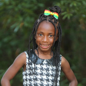 Girl Wearing Ghana Flag Hair Bow
