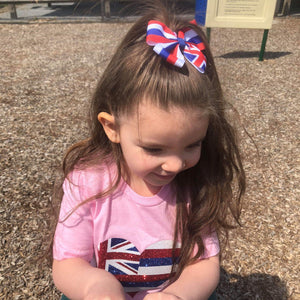 Hawaii flag hair bow for girls