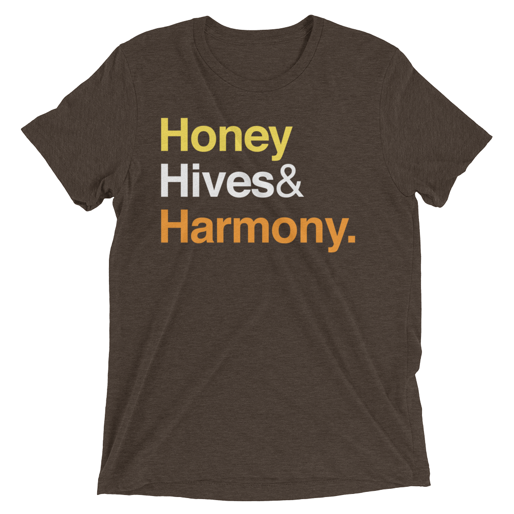 """Honey Hives & Harmony"" Men's / Unisex Beekeeper T-Shirt (Brown)"