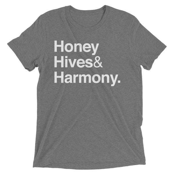 """Honey Hives & Harmony"" Men's / Unisex Beekeeper T-Shirt (Grey)"