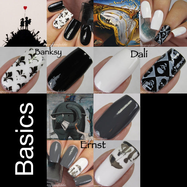 Basics Artist's Inks: Black, White, Grey Creme Nail Polish Set or Individually
