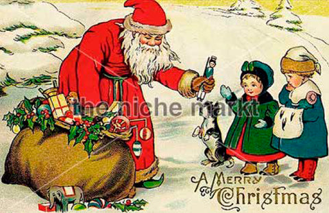 Christmas card with Santa and children