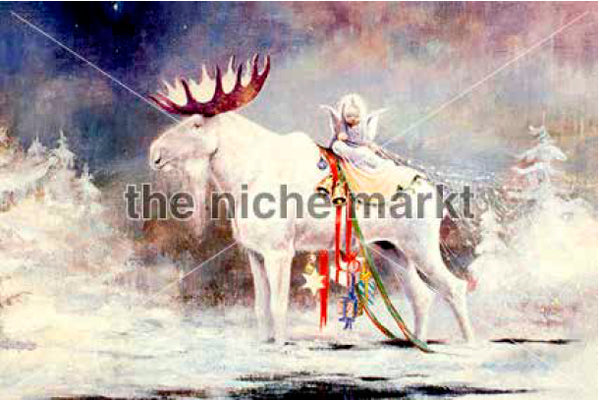 Christmas Card with White Reindeer