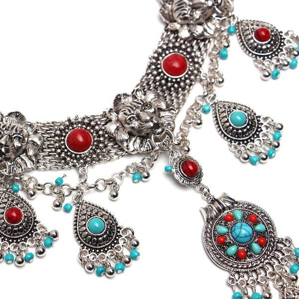 Red and Blue Stones Bohemian Necklace