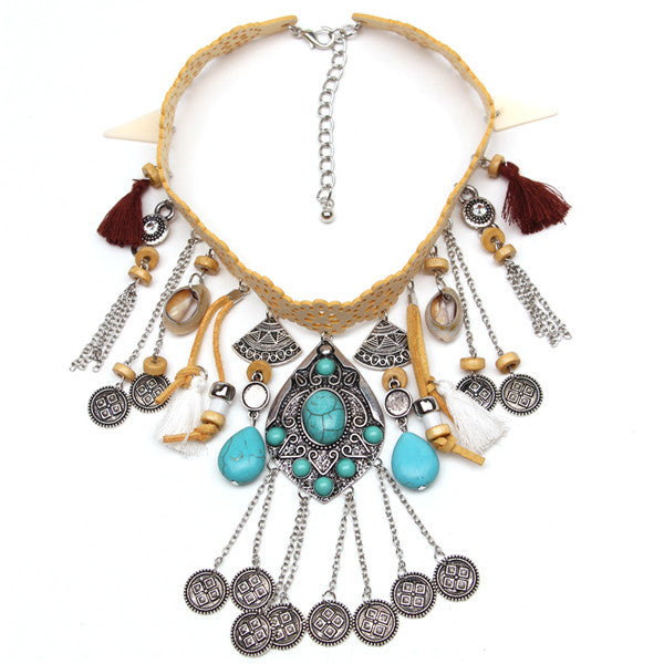 Multi Pendant With Coins Dangling Choker