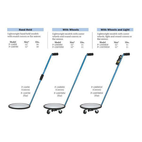 P120FIMLW Flat Inspection Mirror with light And Wheels - Reliable Chimes