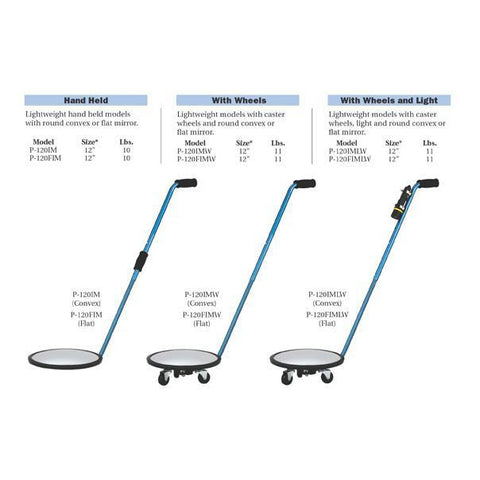 P120FIMLW Flat Inspection Mirror with light And Wheels