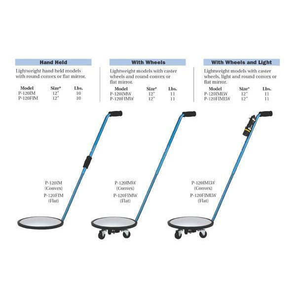 P120IMW Convex Inspection Mirror wiith Wheels