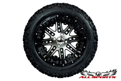 "14"" Megastar on 23"" Backlash Tires - Machined/Black"