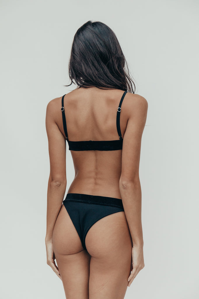 mila bottom in noir mesh + velvet