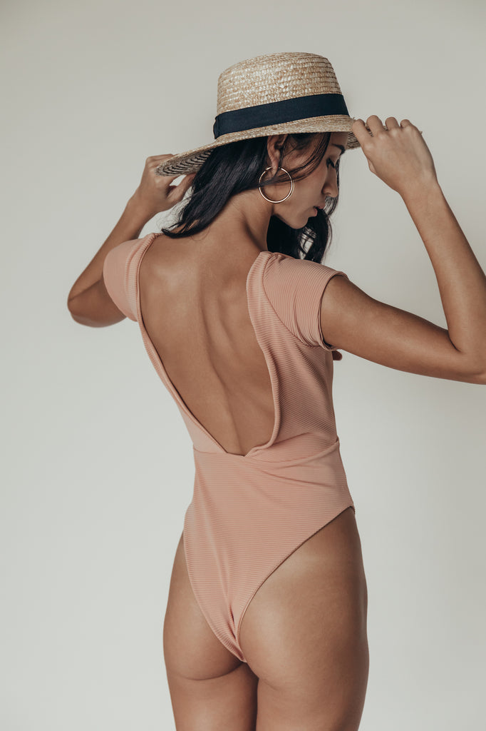 lola one piece in ribbed nude