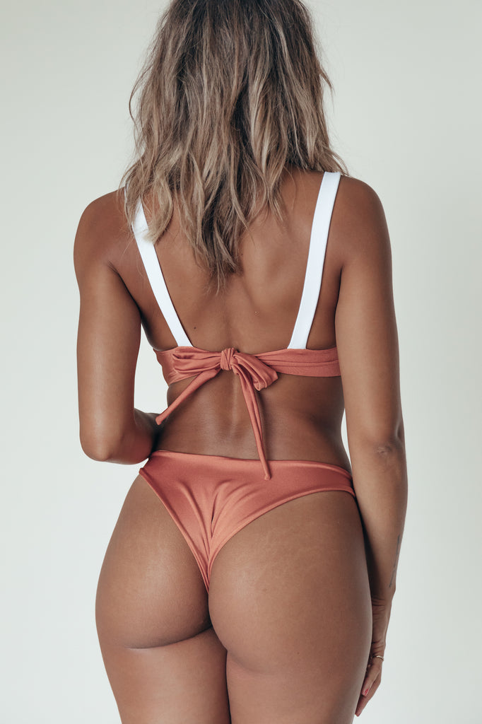 morgan top in copper + blanc