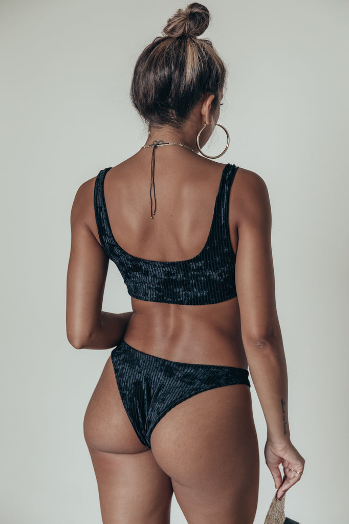 meli bottom in noir ribbed velvet