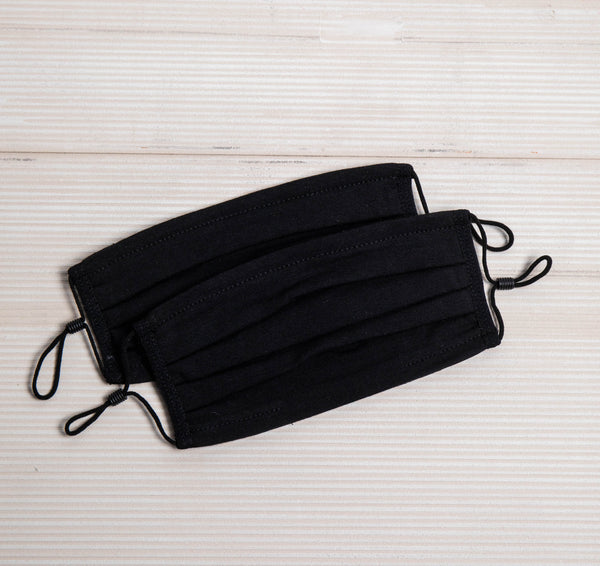 Black Reusable Face Mask - 2 Pack