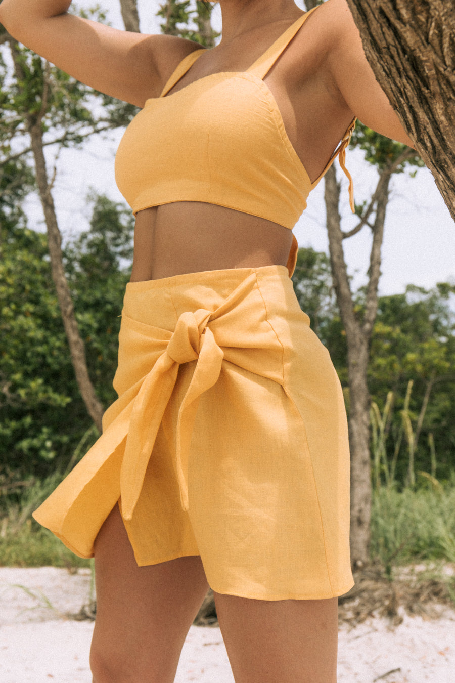 pullover wrap skirt in mustard lino