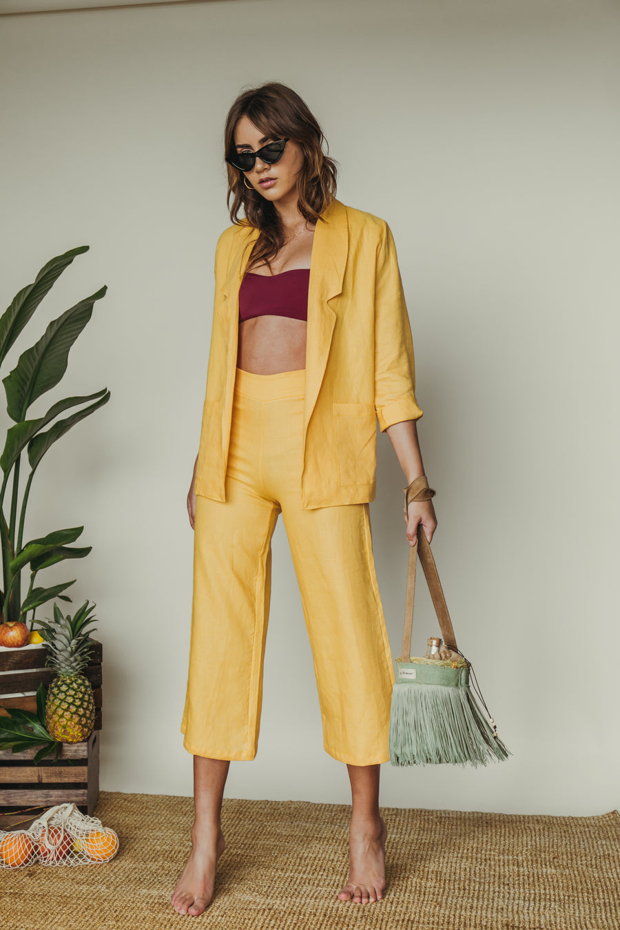 pullover crop pant in mustard lino