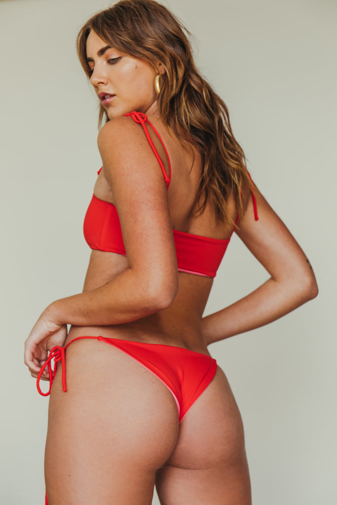 daisy cheeky bottom in red + rouge