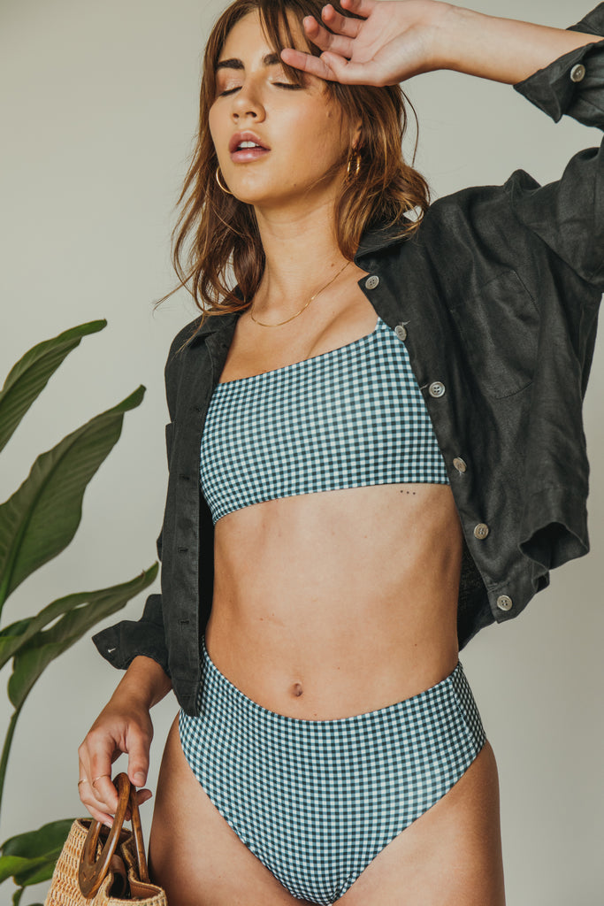 belen top in teal gingham