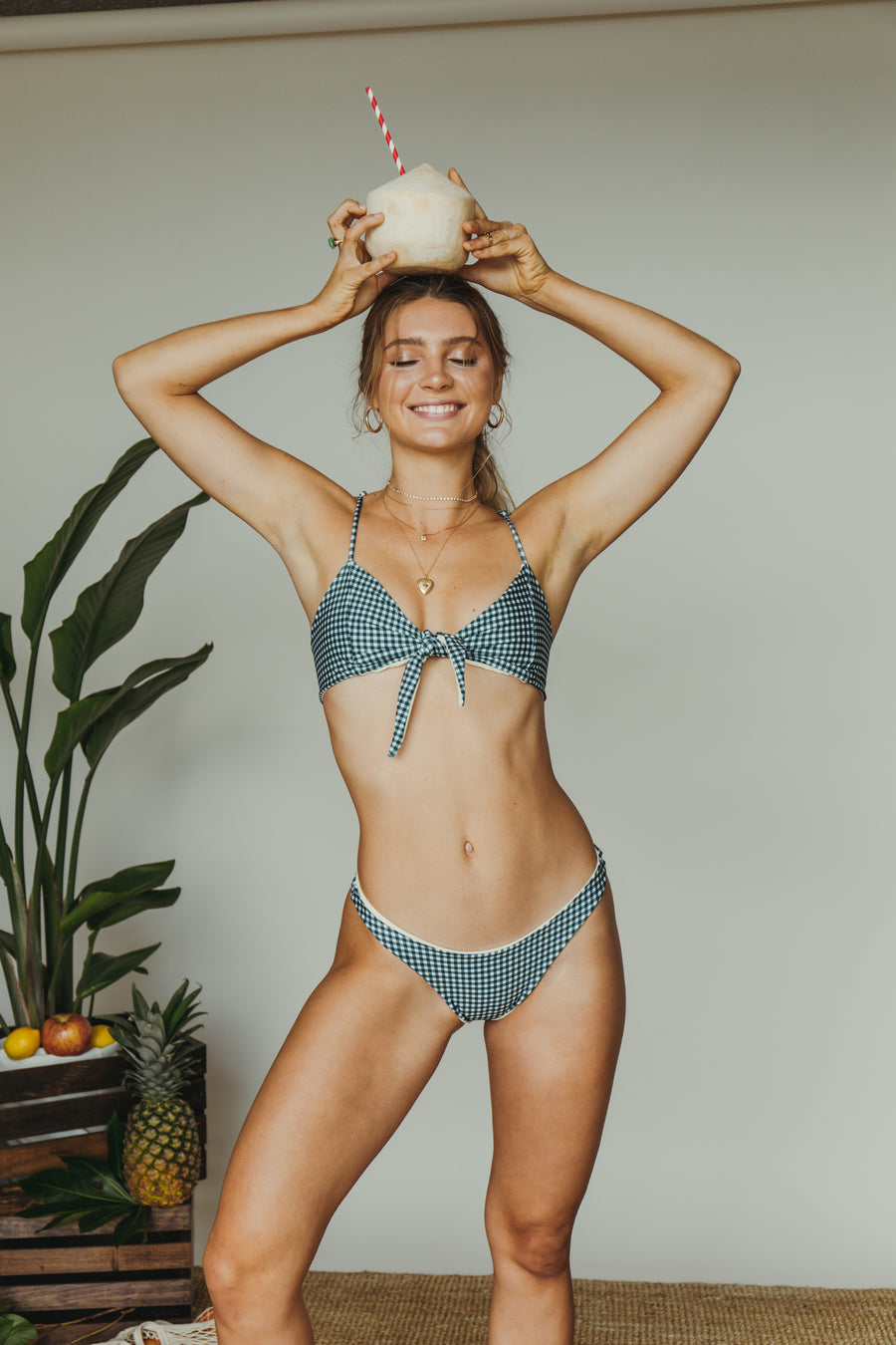 sami bottom in teal gingham