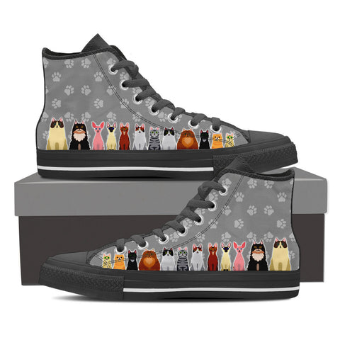 Women's Cartoon Cats Custom Designed Hi Top Canvas Shoes In Black