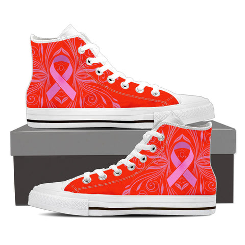 Women's Breast Cancer Awareness Custom Designed Hi Top Canvas Shoes