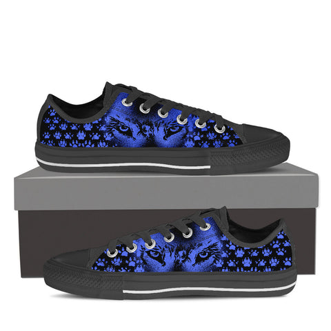 Womens Wolf Eye Canvas Sneakers In Black