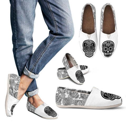 Sugar Skull Ladies Flats On Stylish White
