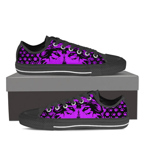 Womens Low Top WOLF Canvas Sneakers In Black