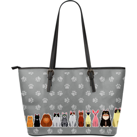 Cartoon Cats Large Leather Tote Bag
