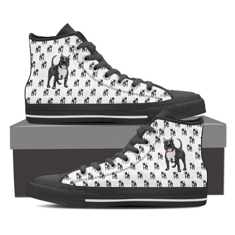 Ladies Pitbull Custom Designer Hi Tops In Black