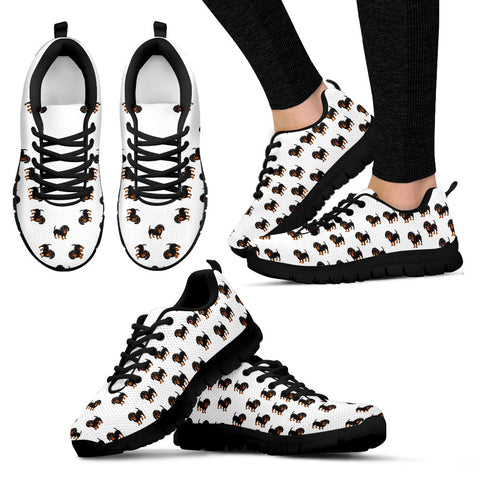 Ladies Dachshund Custom Designer Sneakers In Black