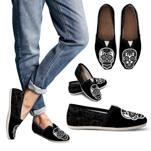 Sugar Skull Ladies Flats On Cool Black