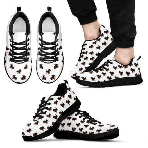 Mens Dachshund Custom Designer Sneakers In Black