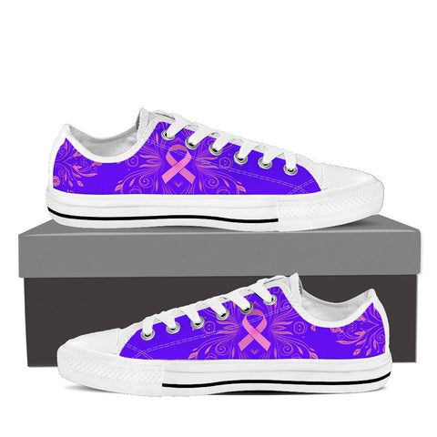 Women's Breast Cancer Awareness Custom Designed Low Top Canvas Shoes