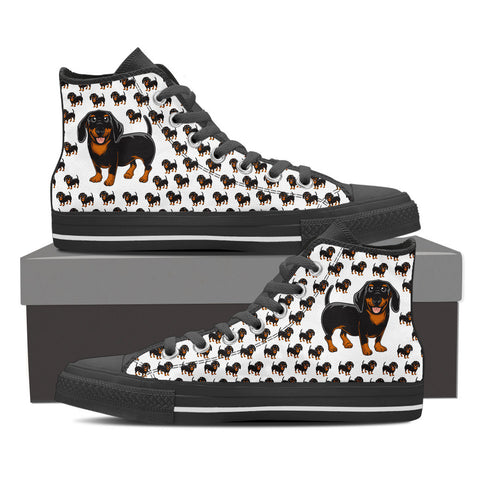 Ladies Dachshund Custom Designer Hi Tops In Black